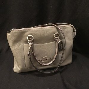 Coach bag grey with snake skin accents